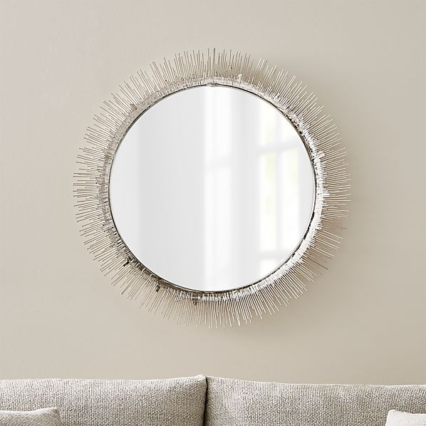 Clarendon Large Round Silver Wall Mirror + Reviews | Crate and Barr