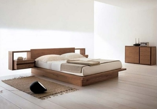 Simple white bedroom design with wooden bed and furniture | Home .
