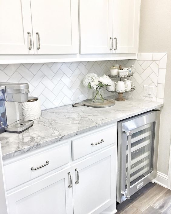 marble countertops + herringbone subway backsplash | home decor .