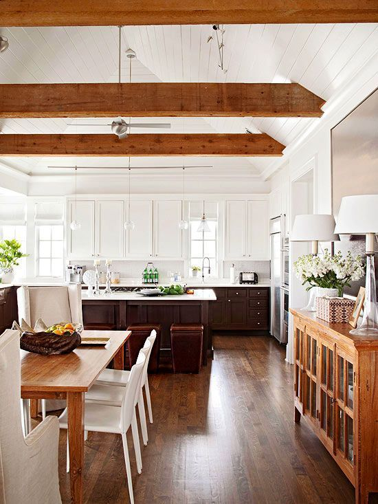 Mixing wood tones @Remodelaholic | Gorgeous white kitchen, Modern .