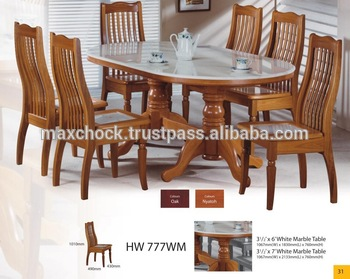 Modern Asian Design Solid Wood Dining Table & Chairs With Natural .