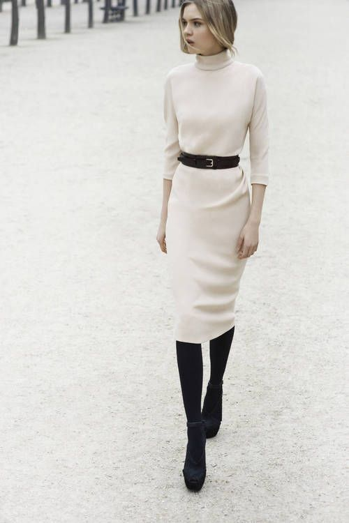 white turtleneck dress with belt