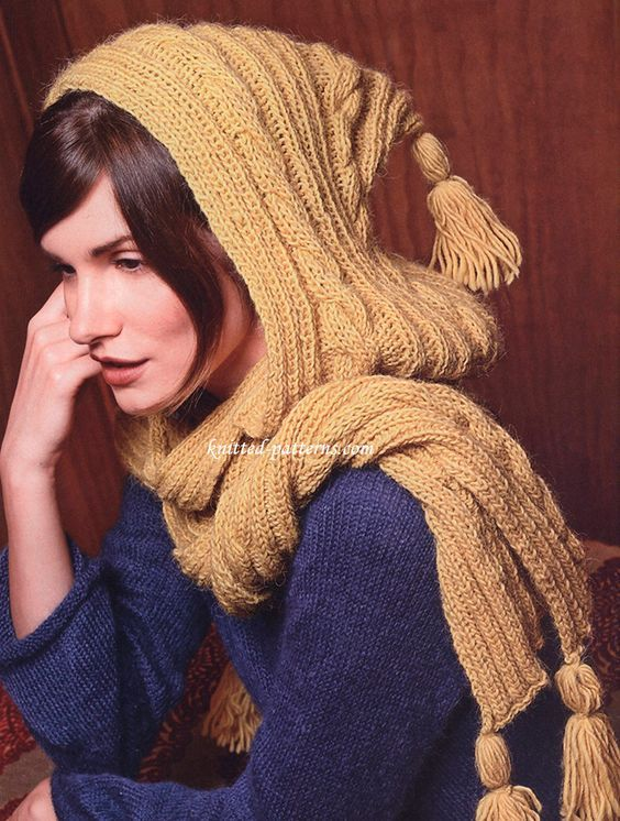 Hooded scarf blue yellow combination