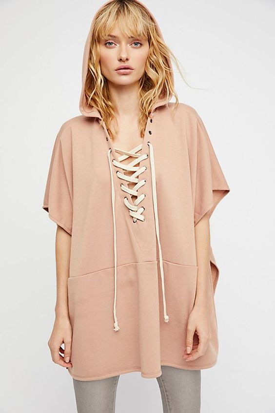Lace poncho with hood