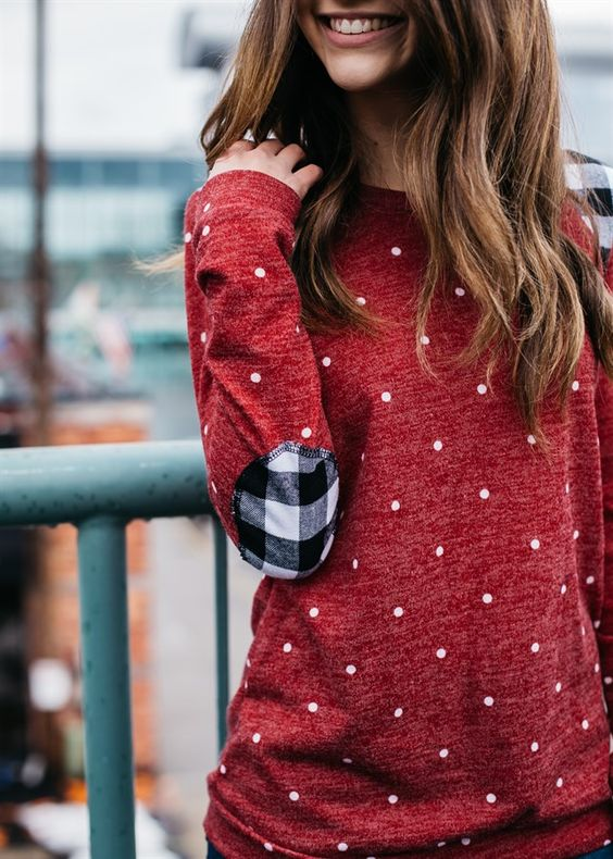 Elbow patch shirt red polka dots