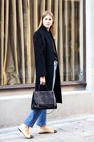 black long wool coat with pink leather ballerinas