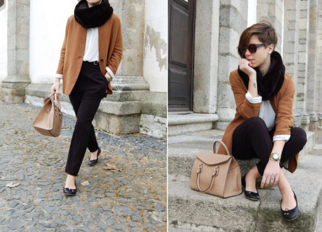 black leather ballerinas with a green wool coat and chinos