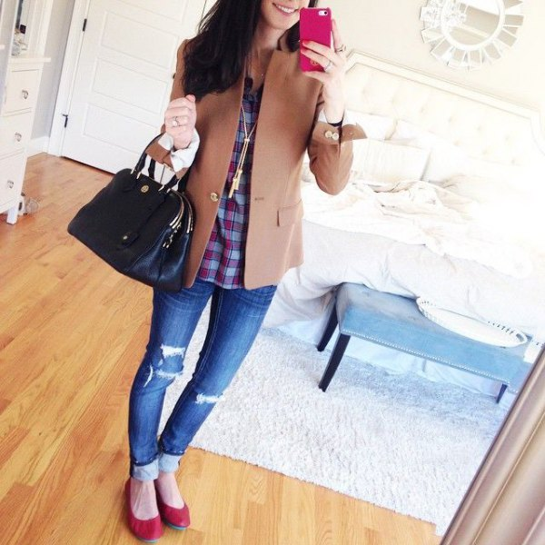 Burgundy leather ballerinas with a checked shirt and wool coat