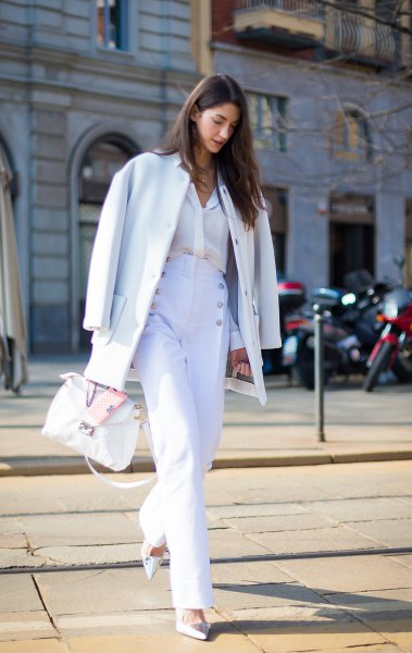 white wool coat with matching sailor trousers with wide legs