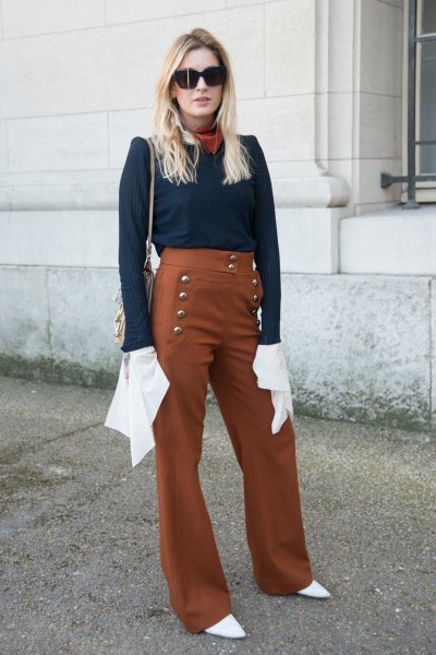 Navy blouse with red sailor trousers