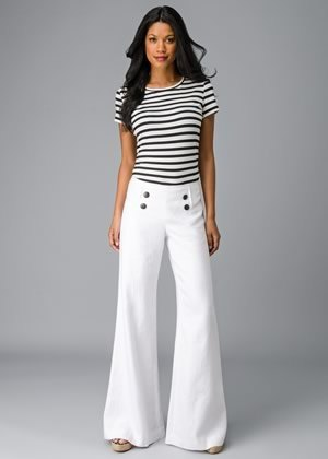 white flared sailor trousers with a striped T-shirt