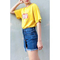 T-shirt with yellow print and blue skort