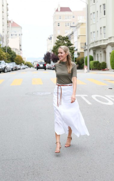 gray mock-neck sweater with half sleeves and white midi linen skirt