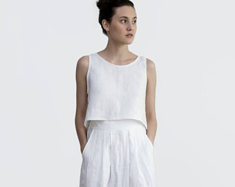 white vest top with matching linen maxi skirt