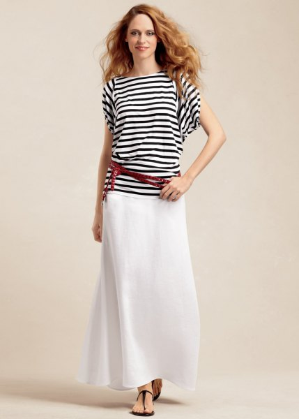 black and white striped t-shirt and white linen maxi skirt