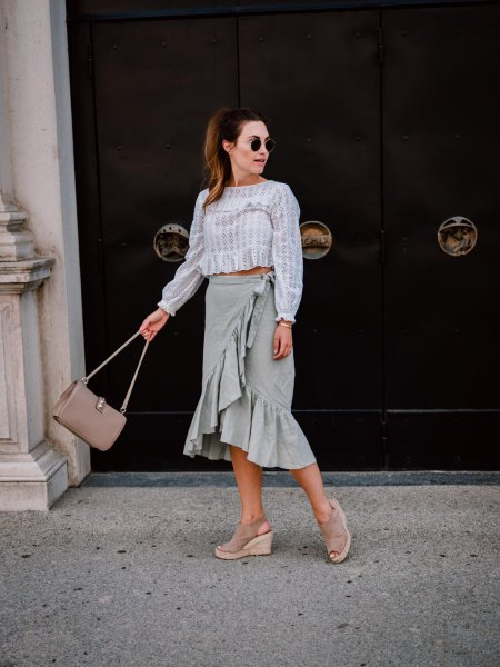 gray and white striped blouse with frilled wrap midi linen skirt