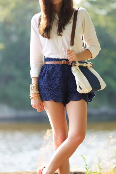 Navy lace cute shorts white button-up shirt