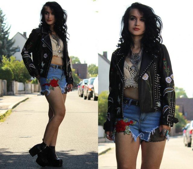 black leather jacket with rivets, white bralette
