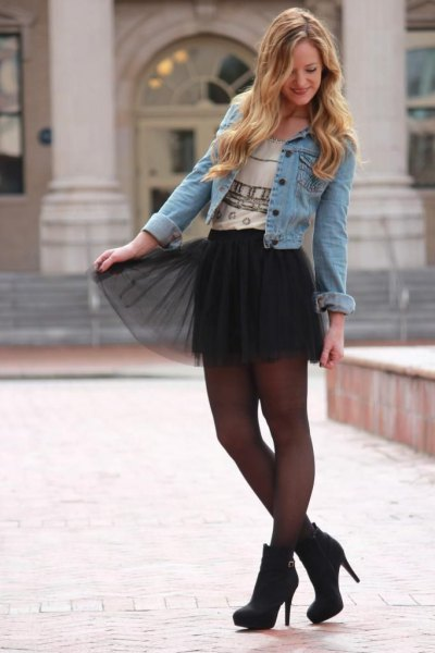 Tulle skirt with a denim jacket