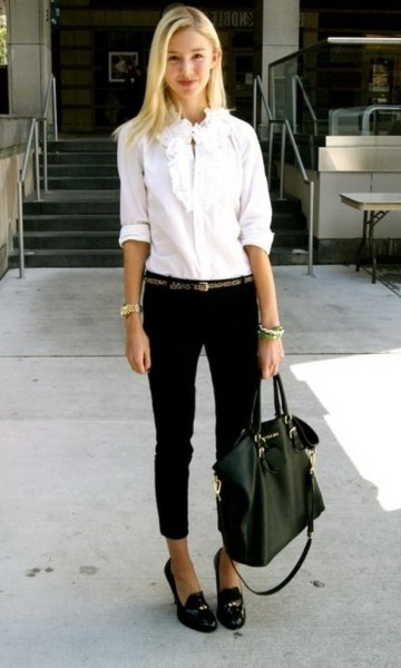 white shirt with buttons black short jeans
