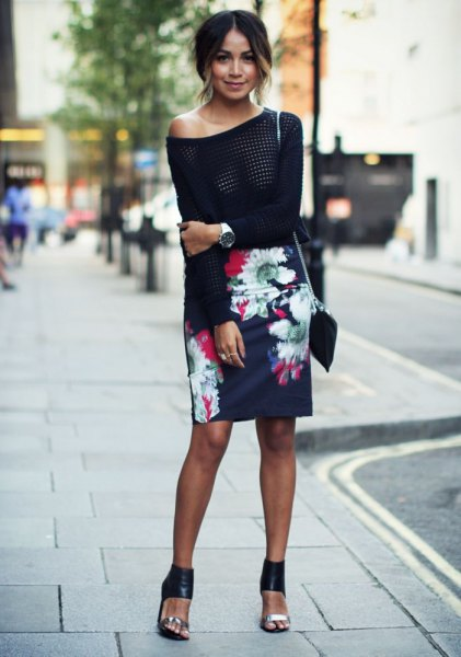 black, narrow cut floral skirt with strapless sweater