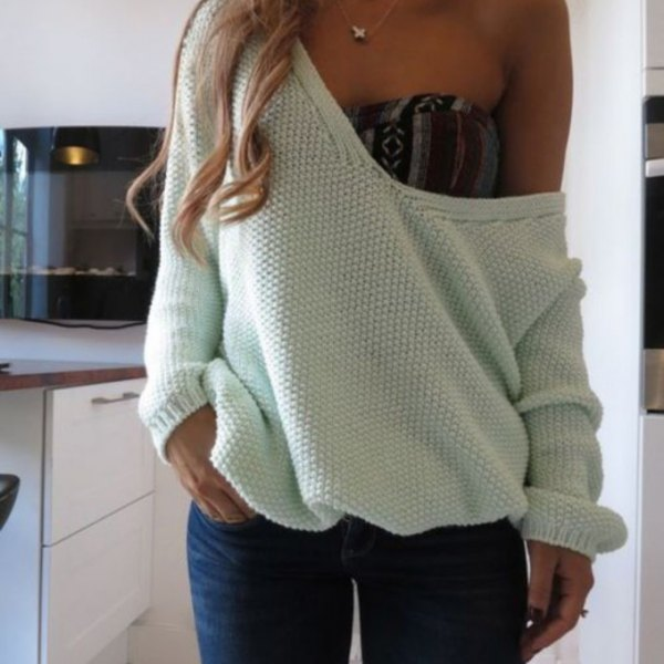 white strapless sweater over the tube top