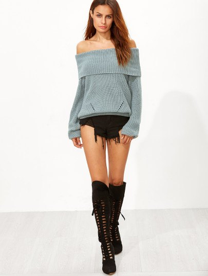 Lace up knee high boots in off-the-shoulder green knit sweater