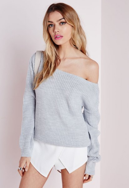 gray off shoulder knit sweater white skort outfit