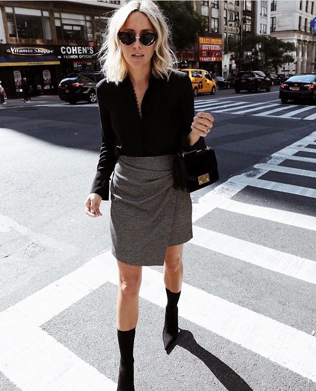 Wrap skirt with calf boots