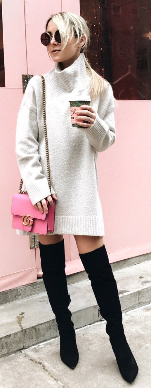 white turtleneck dress details