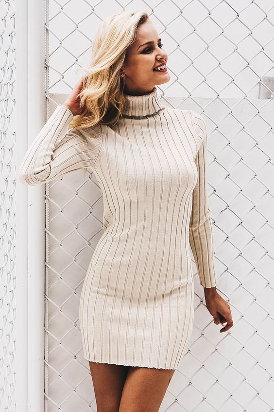 knitted white turtleneck dress