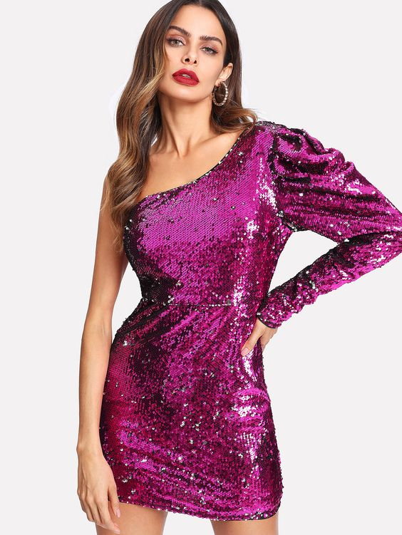 pink sequin dress one shoulder