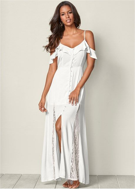 white dress with cold shoulder button