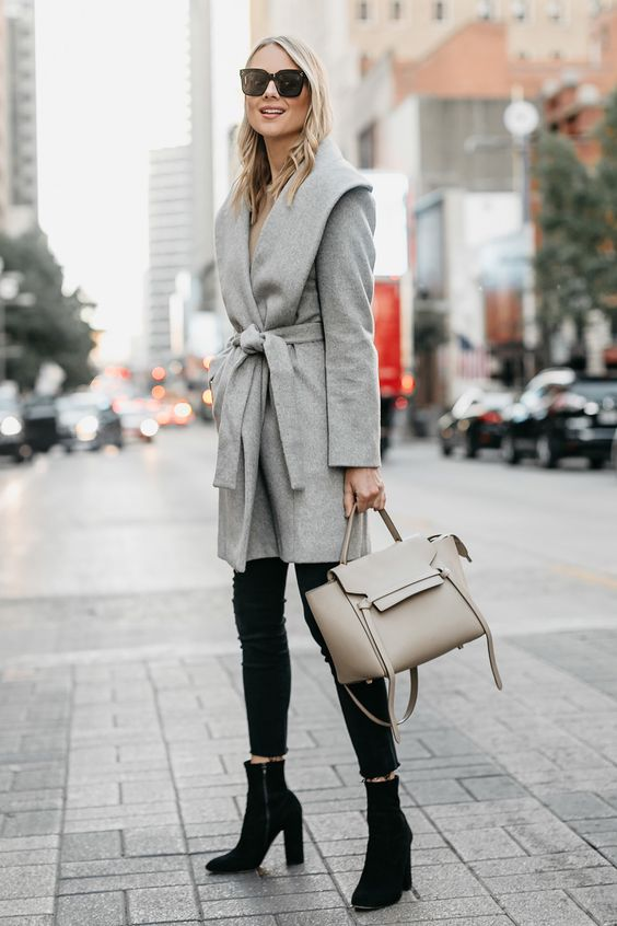 Wool wrap coat gray camel mix