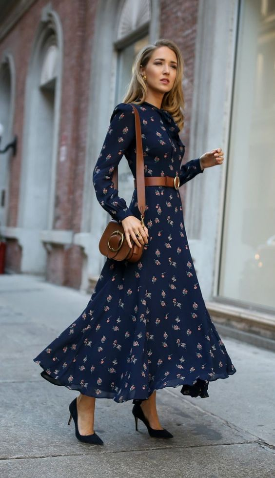 Navy floral dress appropriate