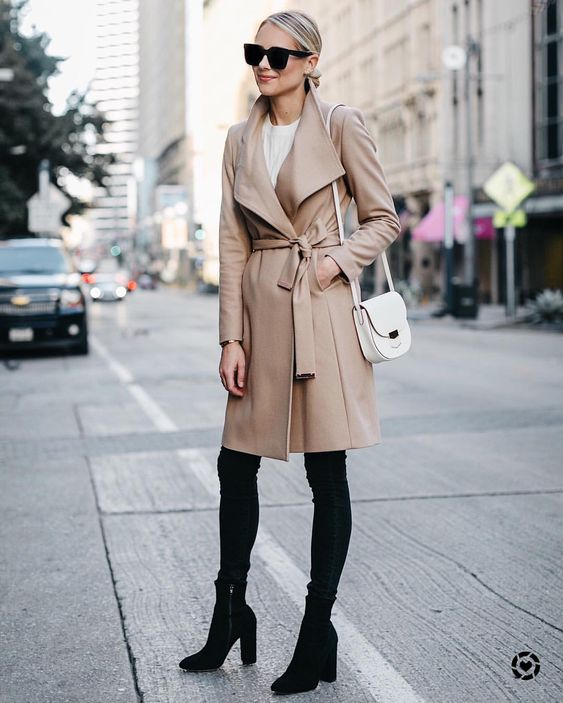 Black camel wool wrap coat