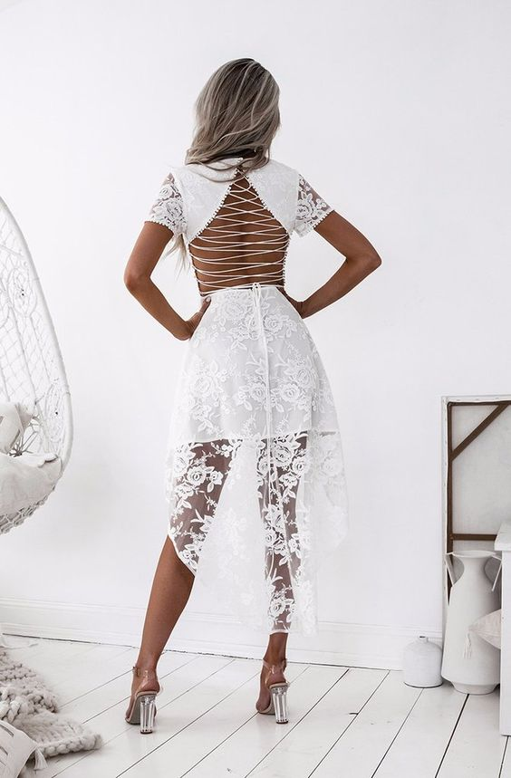 High low lace dress white