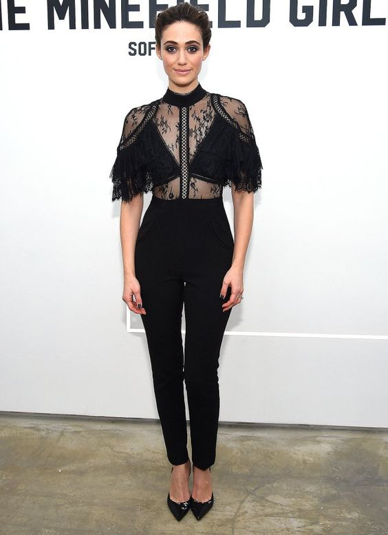 black lace jumpsuit interesting top