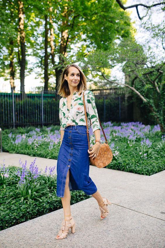 Jeans midi skirt flower blouse