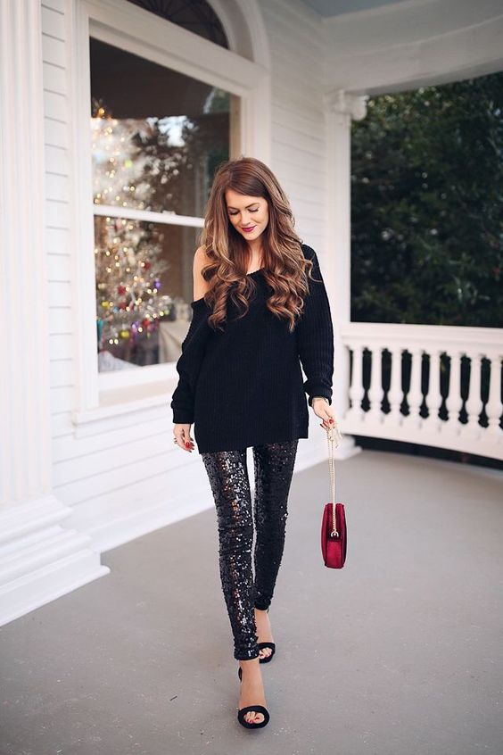 Sequin gaiters over the one-shoulder sweater