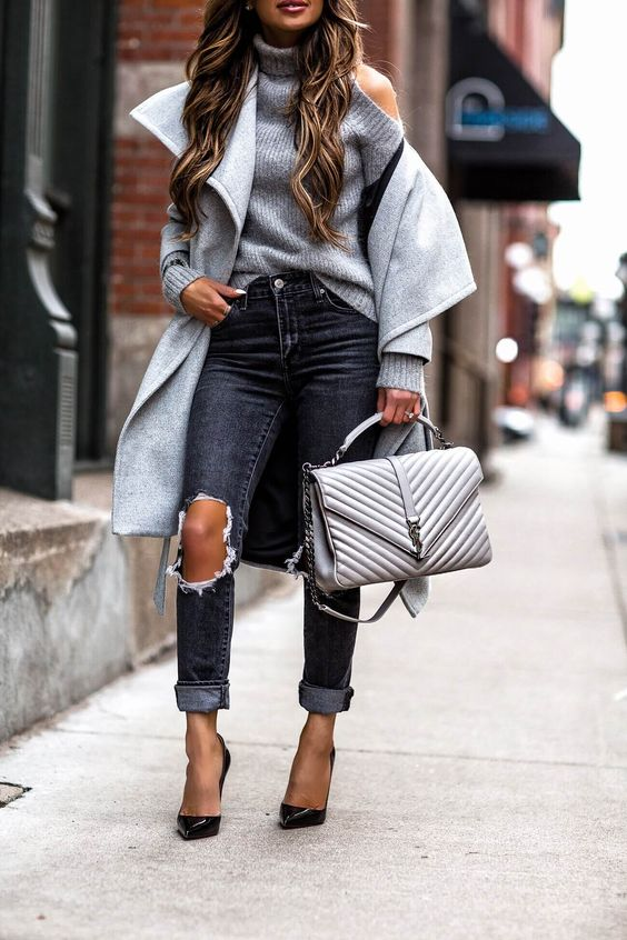 cold shoulder sweater gray