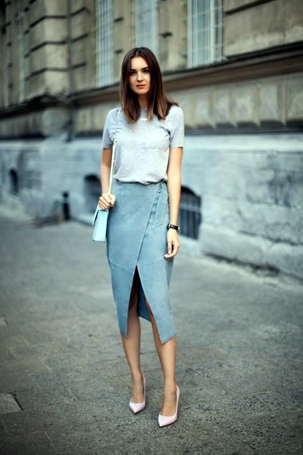 Pastel colors of suede skirt