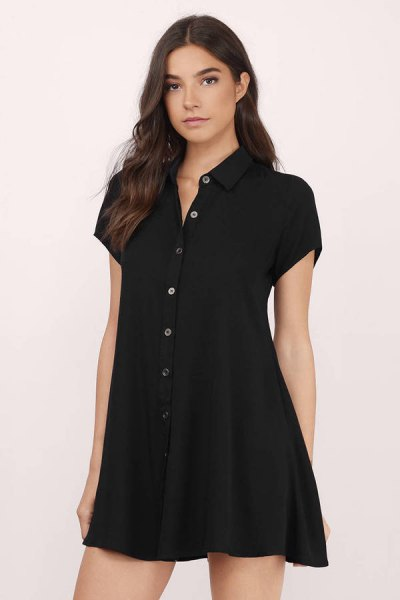 all black buttoned, slightly flared mini shirt dress