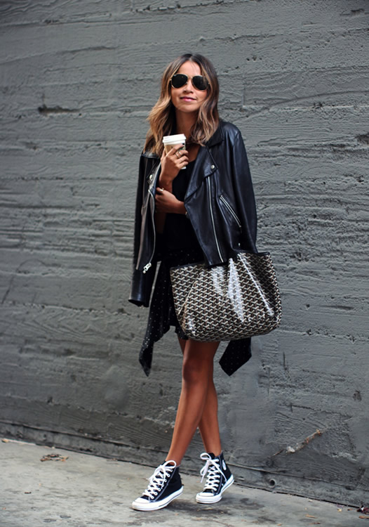 all black leather jacket converse outfit