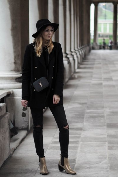 all black outfit gold ankle boots