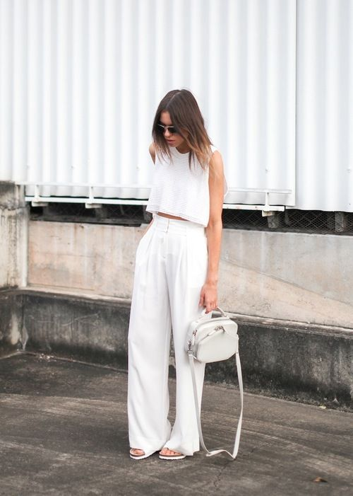 all white pants with high waist and wide legs