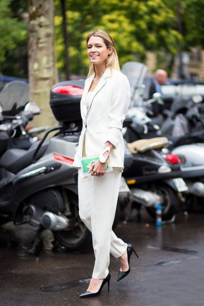 all white outfit blazer suit pants