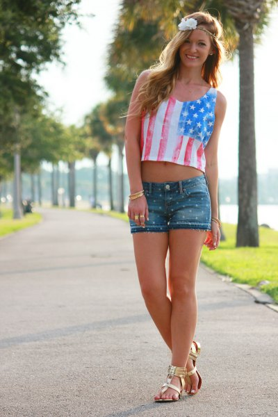 American flag short tank top, denim shorts and gold sandals