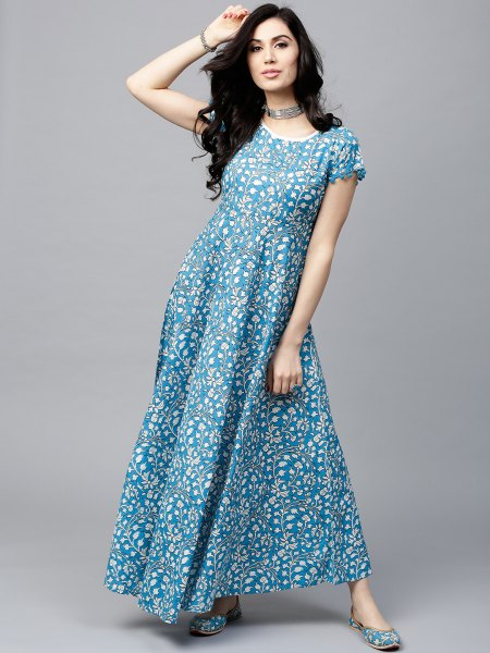 aqua blue and white dotted maxi dress with choker