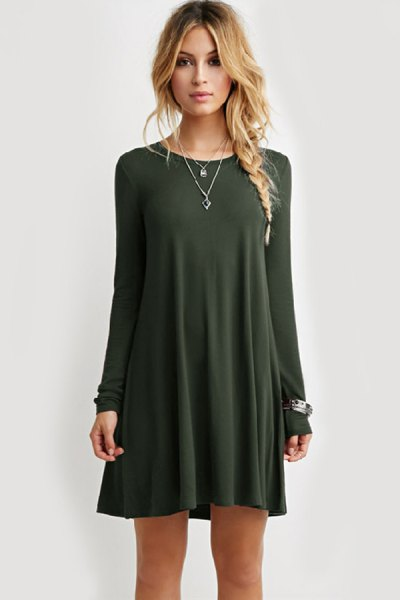 Army green mini swing dress with silver necklace